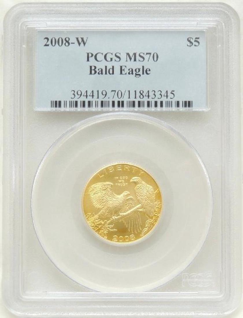 2008-W Bald Eagle $5.00 Gold Piece MS70