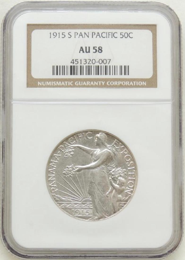 1915-S Pan Pacific Commemorative Half Dollar AU58