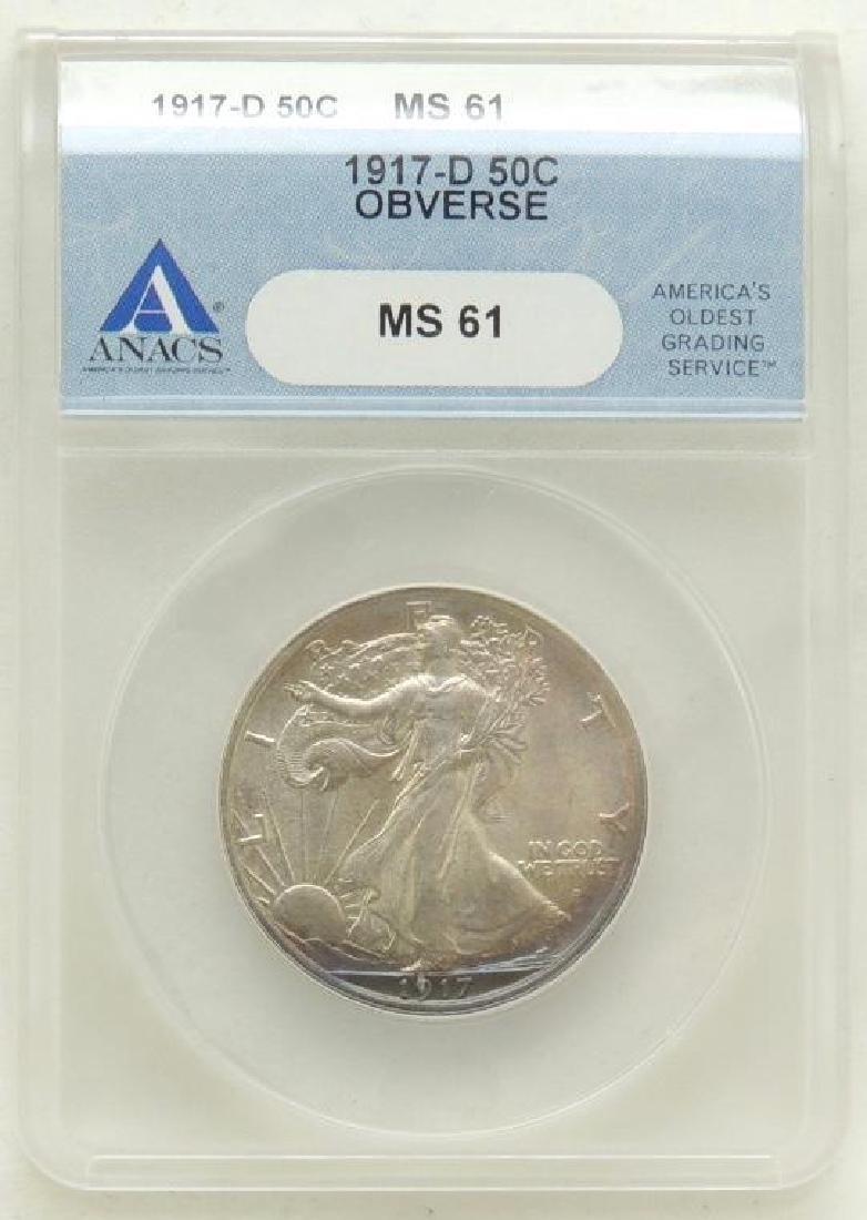 1917-D Walking Liberty Half Dollar MS61