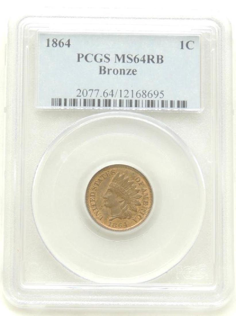 1864 Indian Head Cent MS64 RB