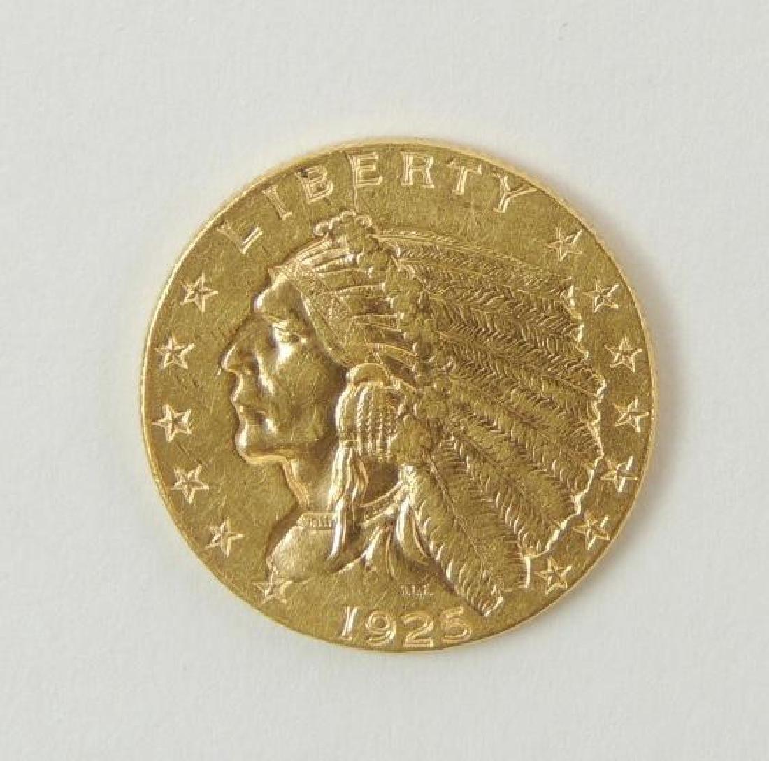 1925-D Indian Head Quarter Eagle $2.50 Gold Coin