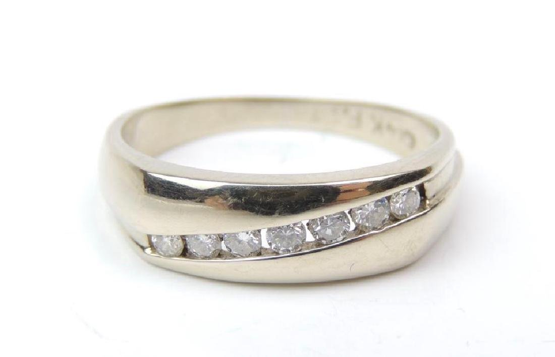 14K White Gold and Channel SetDiamond Band