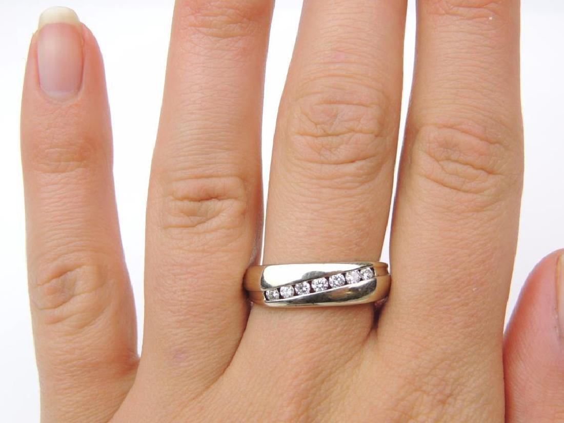 14K White Gold and Channel Set Diamond Band - 4