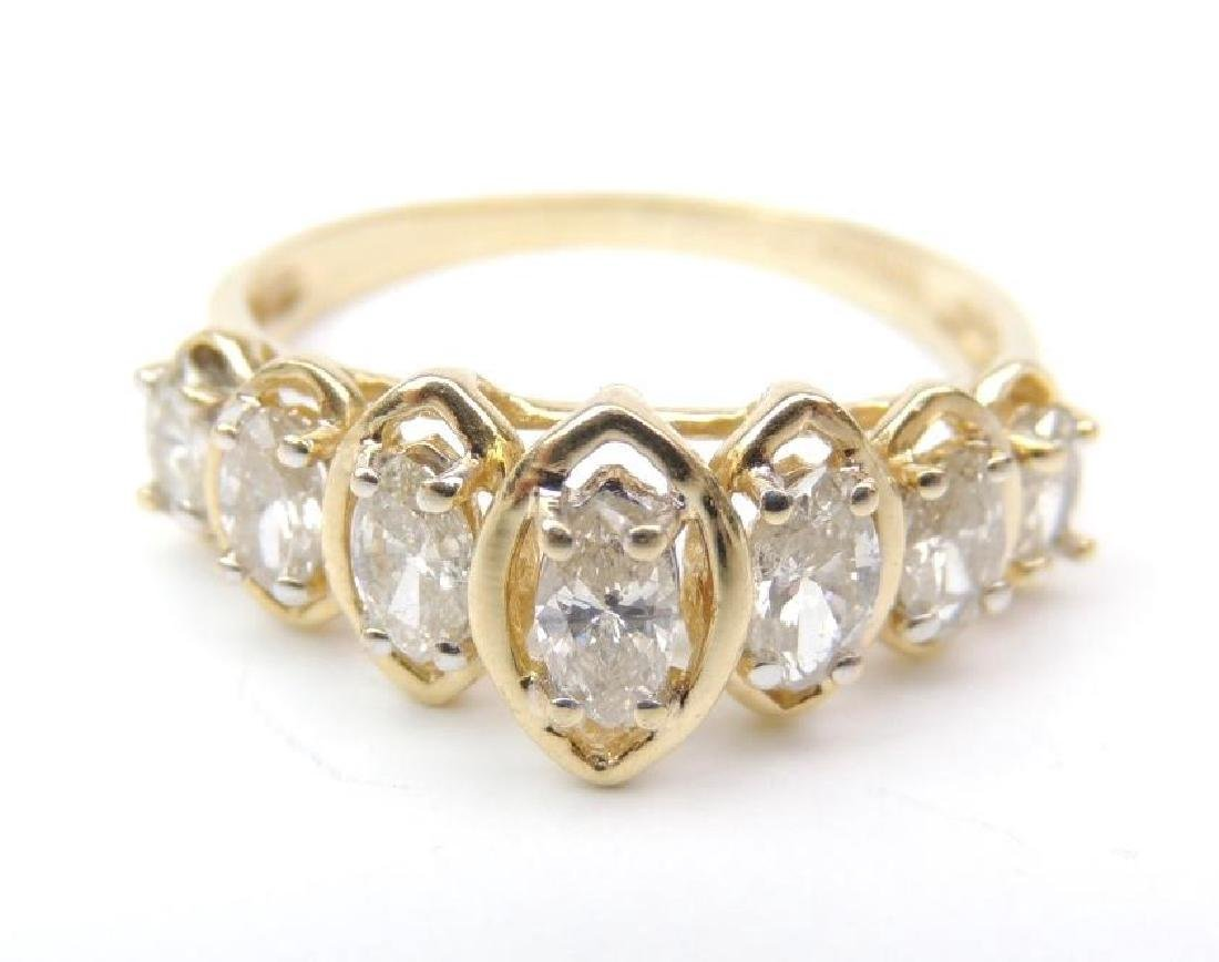 14K Yellow Gold and Diamond Raised Marquis Ring