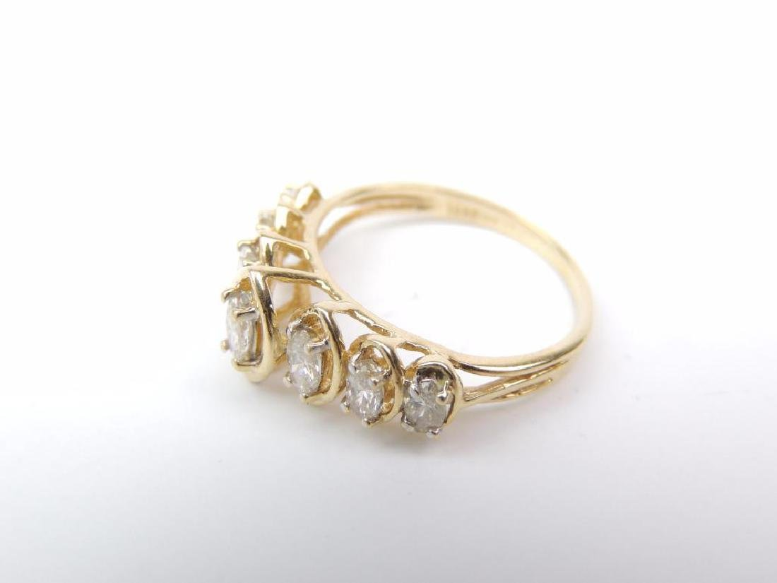 14K Yellow Gold and Diamond Raised Marquis Ring - 2