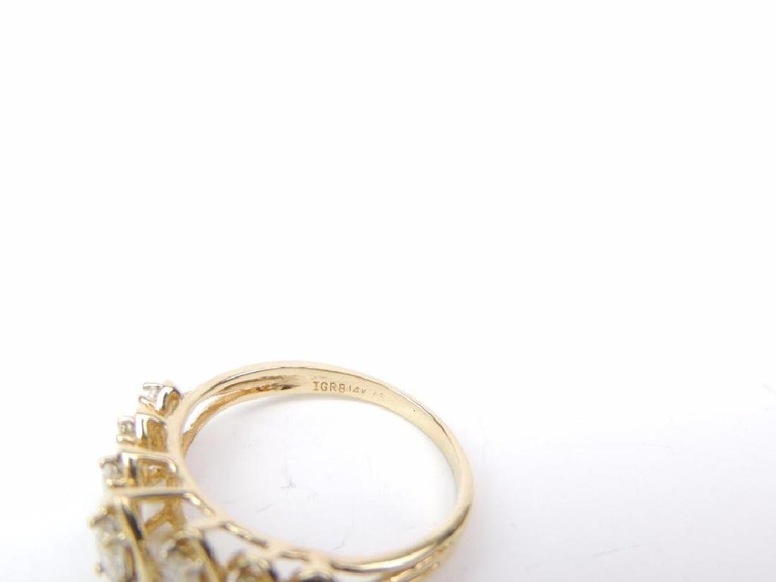 14K Yellow Gold and Diamond Raised Marquis Ring - 3