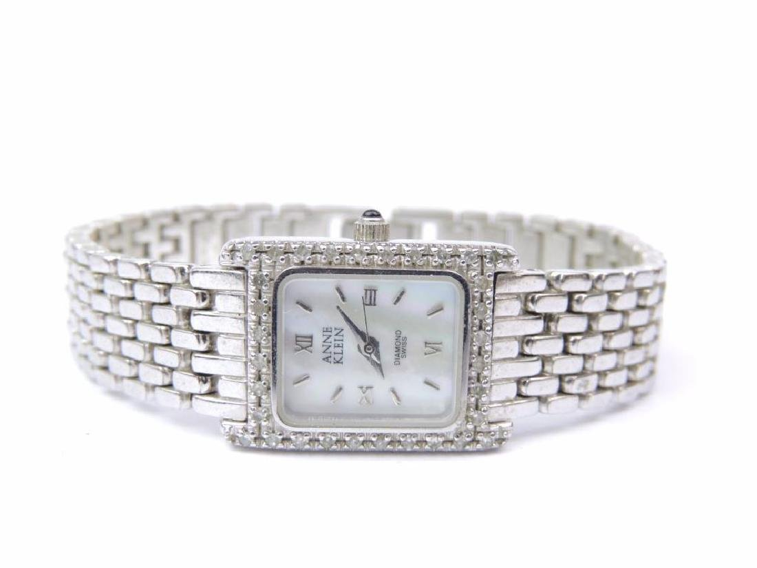Anne Klein Silver Tone and Diamond Accent Wrist Watch
