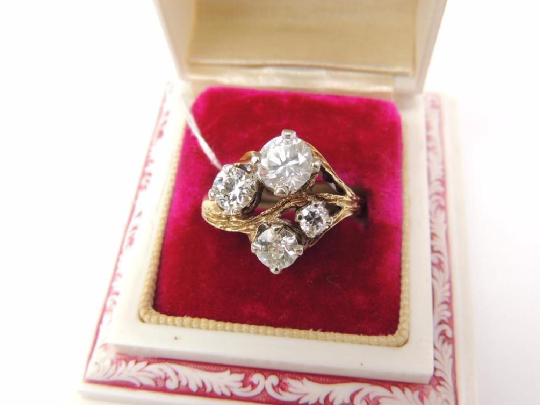 14K Yellow Gold Diamond Freeform 4-Stone Ring (2.15cwt)