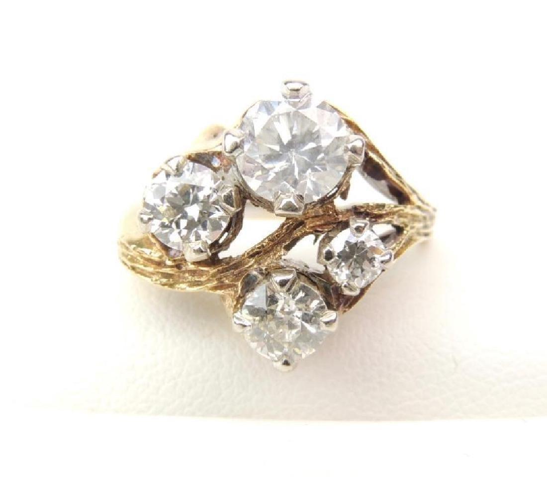 14K Yellow Gold Diamond Freeform 4-Stone Ring (2.15cwt) - 2