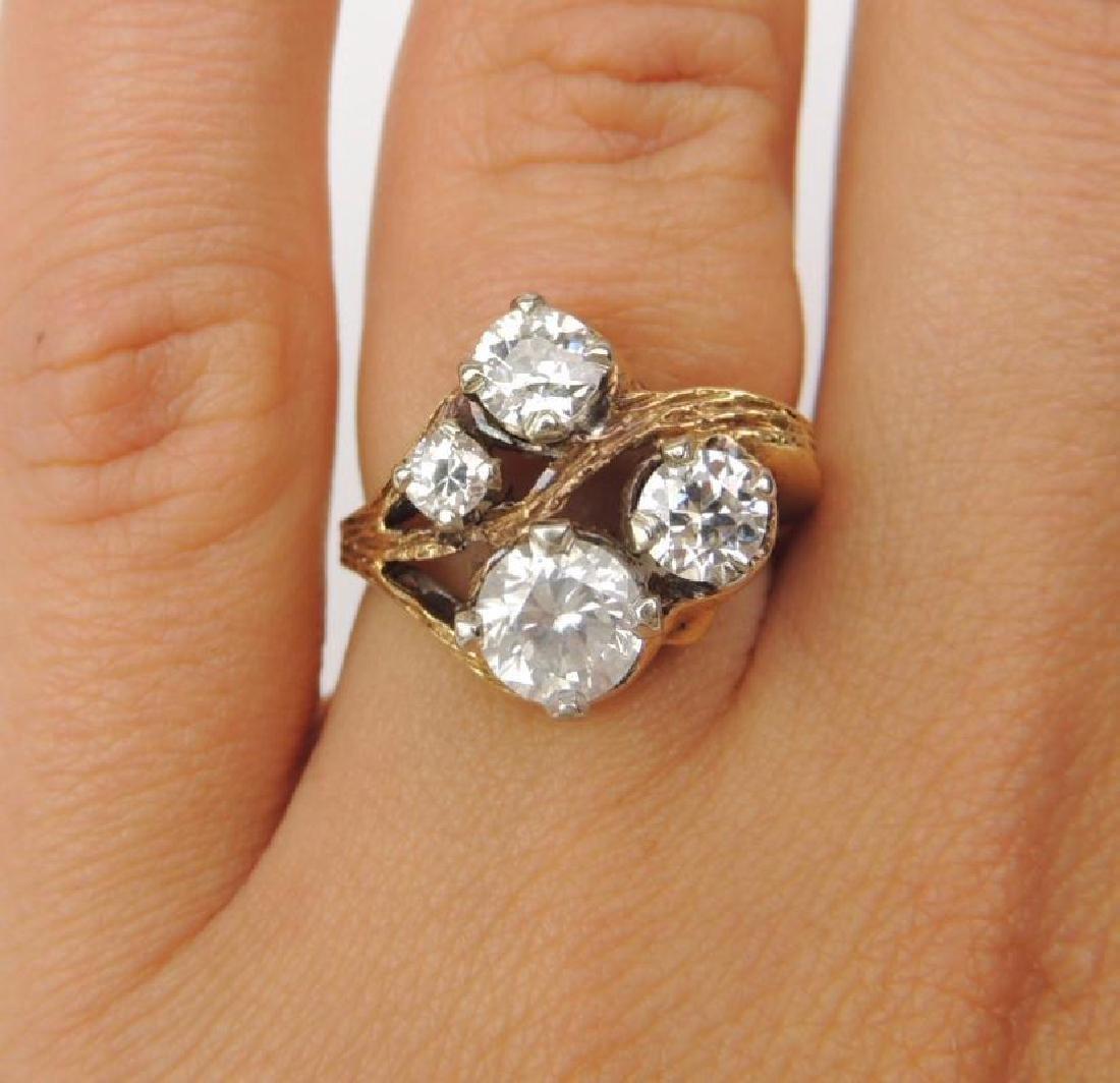 14K Yellow Gold Diamond Freeform 4-Stone Ring (2.15cwt) - 6