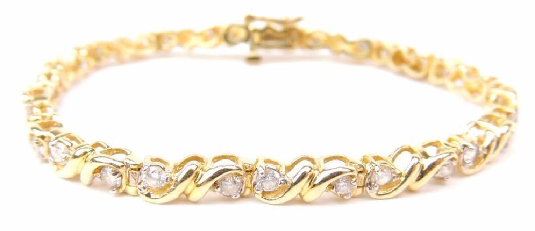 14K Yellow Gold Diamond Tennis Bracelet w/ appraisal