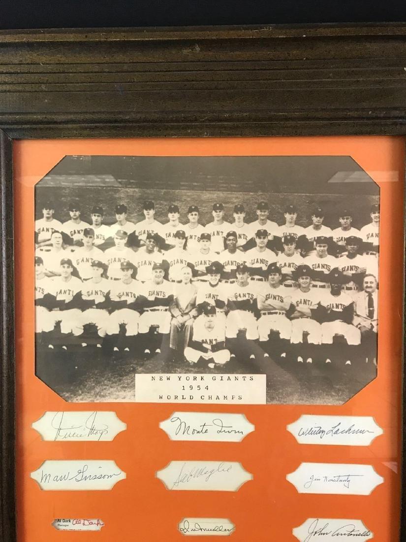 1954 New York Giants team photo with nine signatures - 2