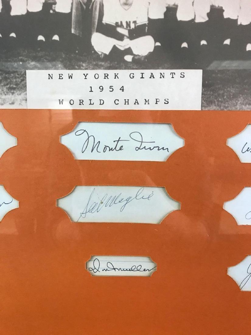 1954 New York Giants team photo with nine signatures - 4