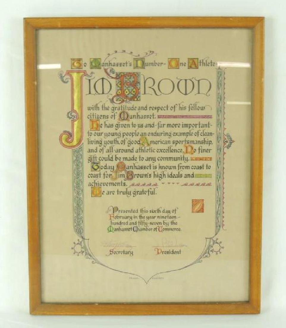 1957 Manhasset New York Jim Brown Framed Proclamation