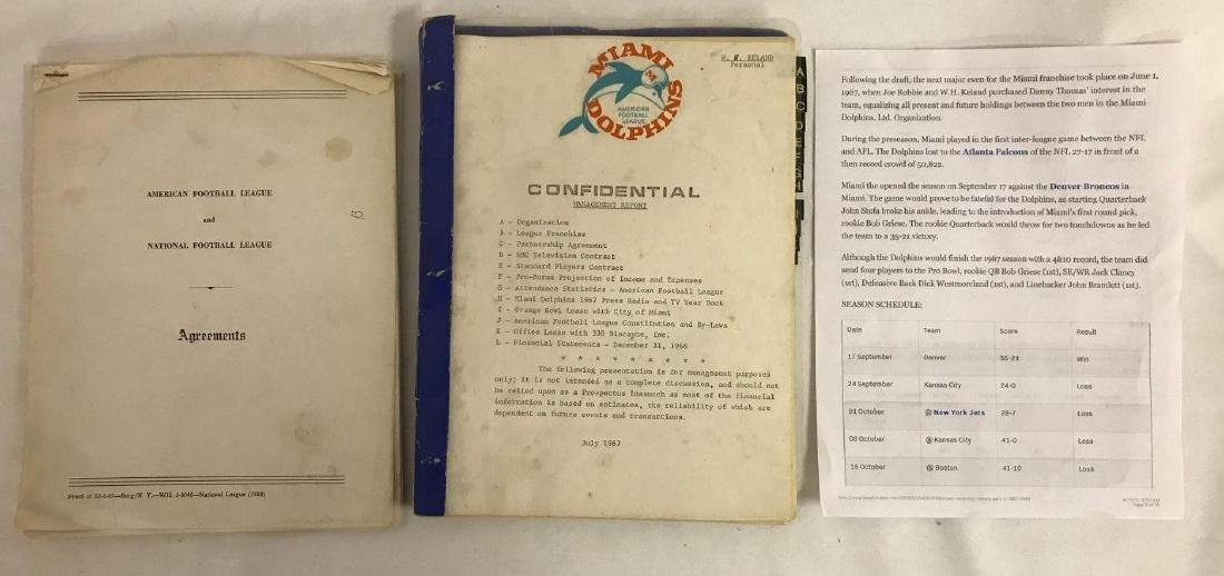 Group of vintage NFL agreements and management reports