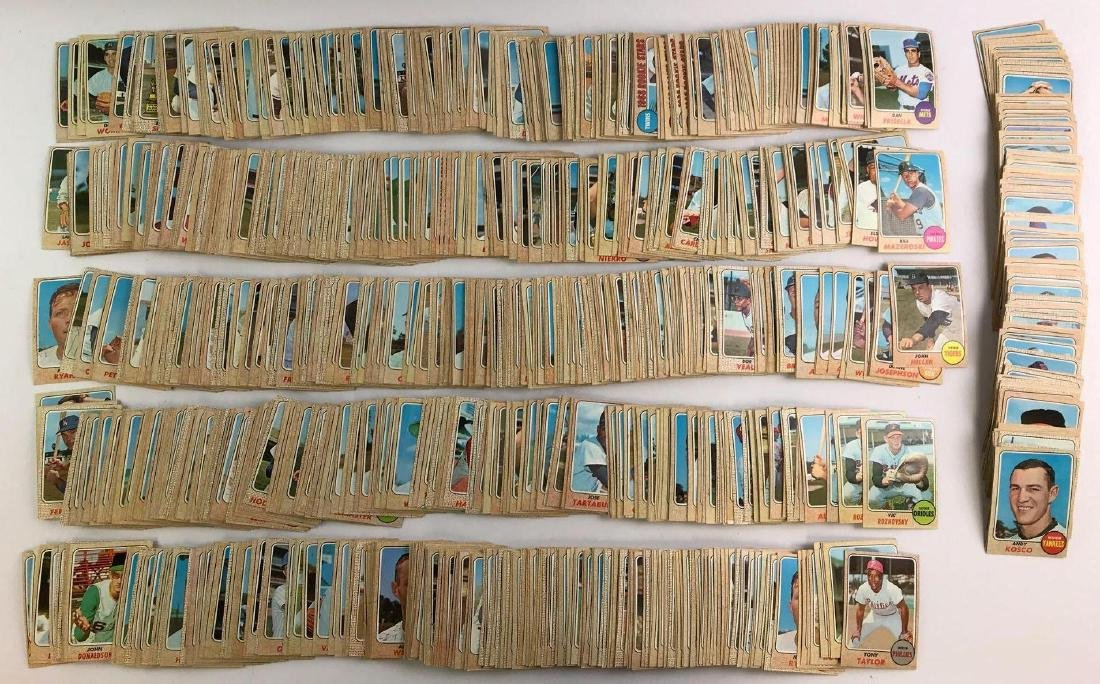 Approximately 1100+ 1968 Topps baseball trading cards