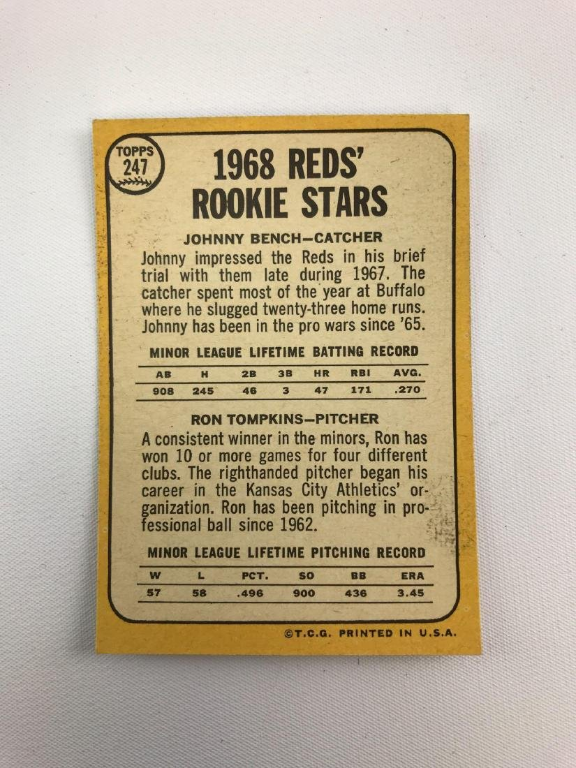 1968 Topps rookie stars Johnny Bench and Ron Tompkins - 2