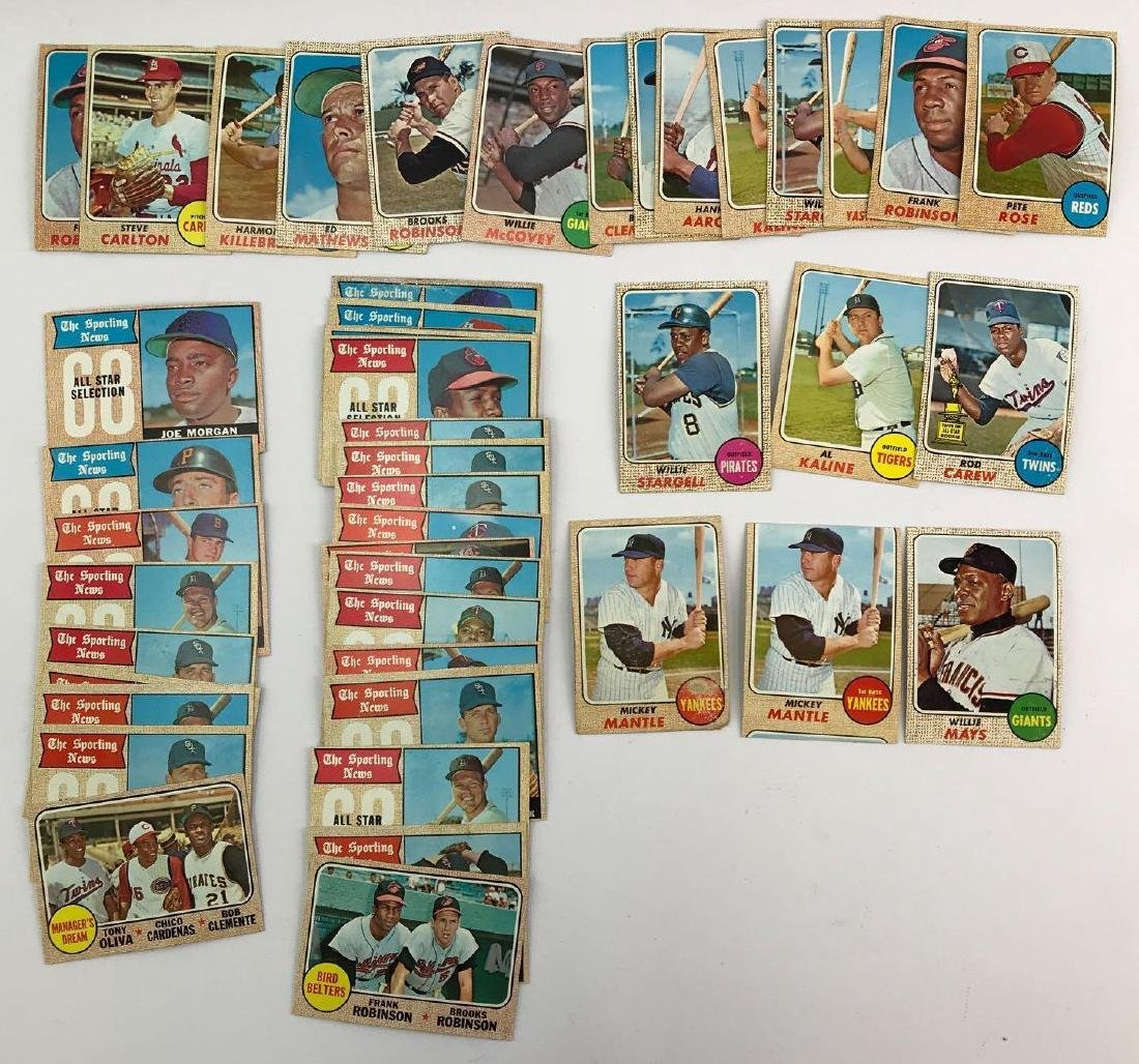 Approximately 40+ 1968 Topps baseball trading cards