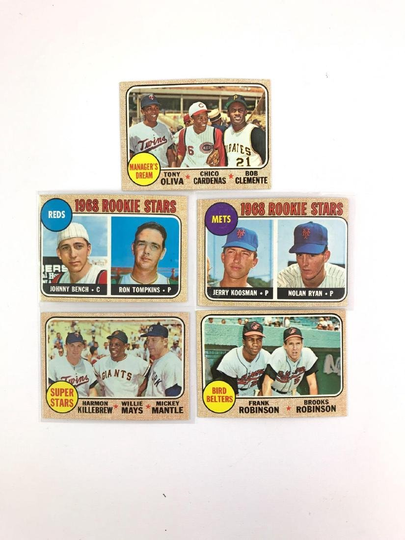 Group of five 1968 Topps rookie stars baseball cards