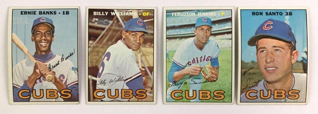 Group of four 1967 Chicago cubs Topps baseball cards