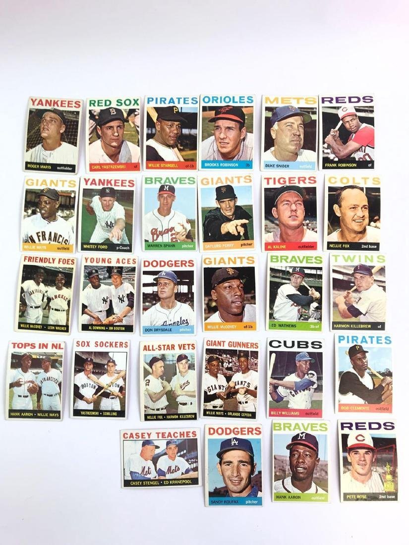 Group of 28 1964 Topps baseball trading cards