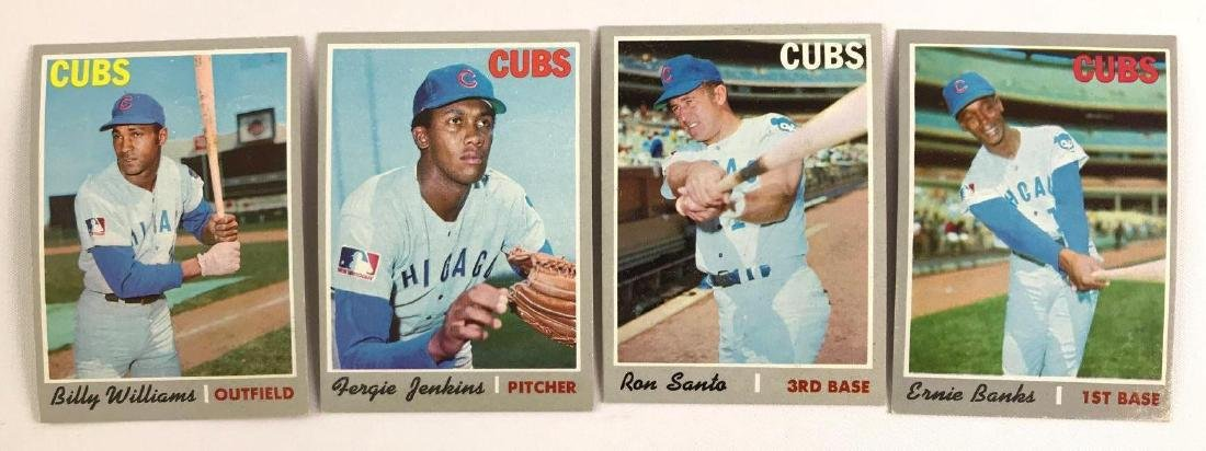 Group of four 1970 Topps Chicago cubs baseball trading