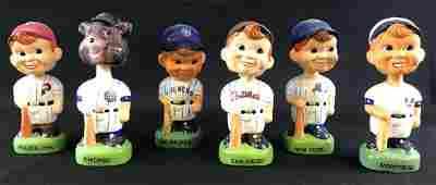 Group of six 1988 Porcelain MLB bobble heads
