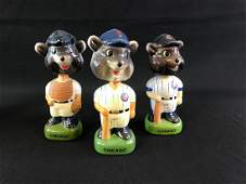 Group of three vintage Chicago cubs mascot porcelain