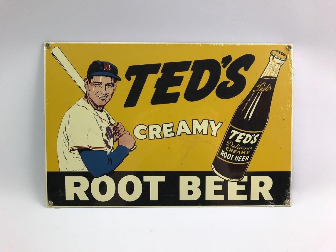 Teds creamy root beer metal advertising sign