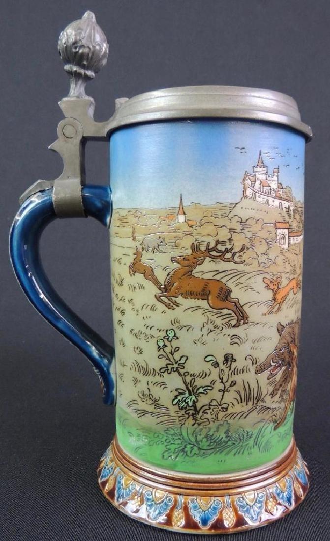 Antique German Mettlach Boar Hunt Stein