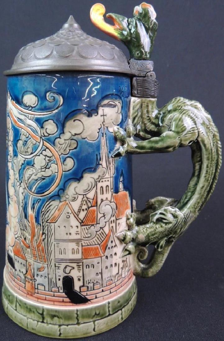 Antique German Mettlach St. Florian Slaying Dragon - 2