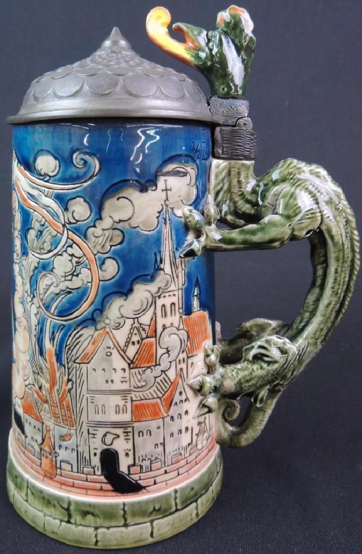 Antique German Mettlach St. Florian Slaying Dragon - 3