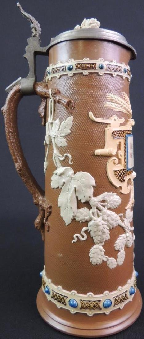 Antique German Mettlach Chocolate Hops / Wheat Stein - 4