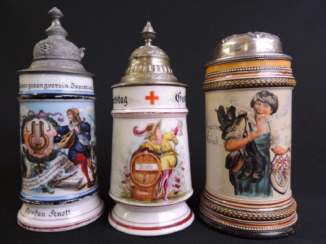Lot of 3 Antique German Steins : Music School, Red
