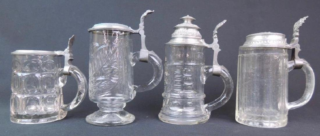 Lot of 4 Antique Glass Steins - 2
