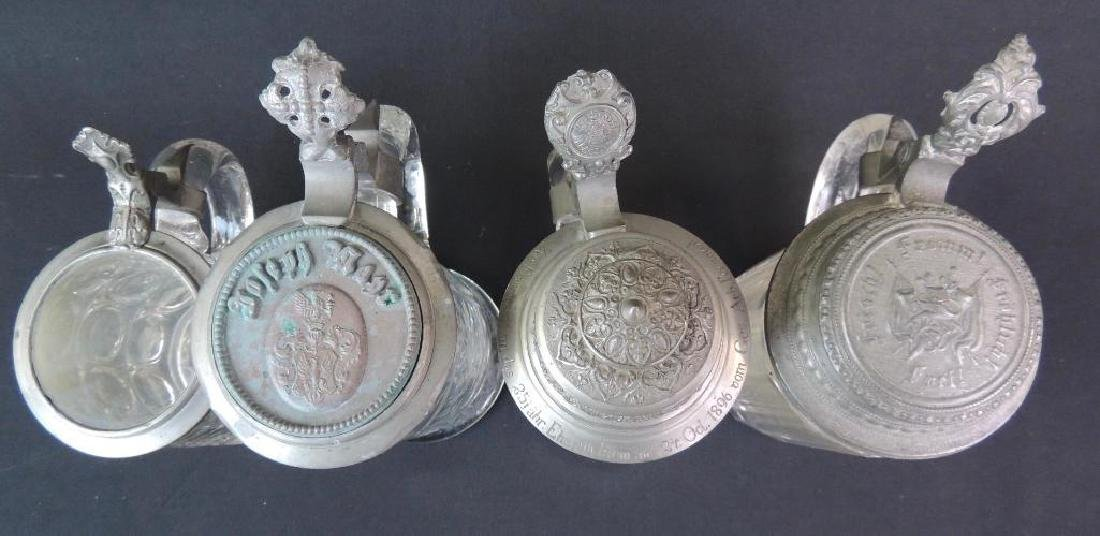 Lot of 4 Antique Glass Steins - 3