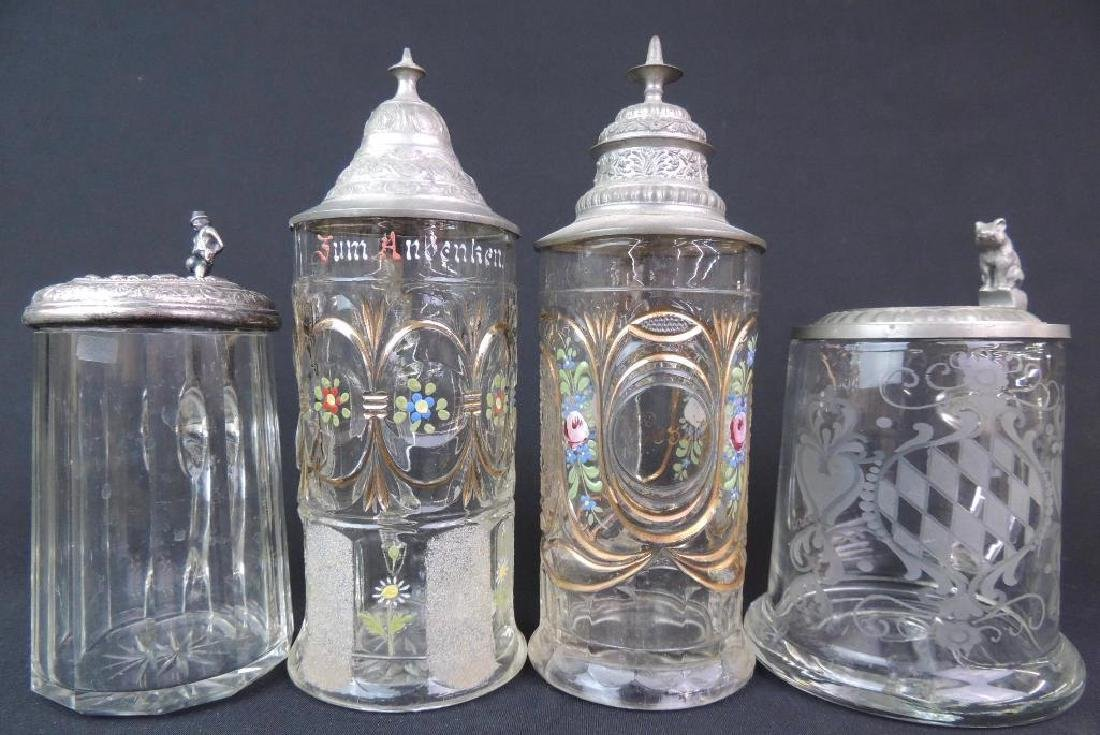 Lot of 4 Antique Glass Steins