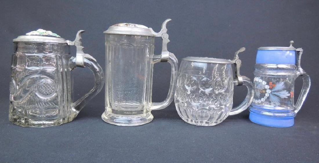 Lot of 4 Antique Glass Steins - 4