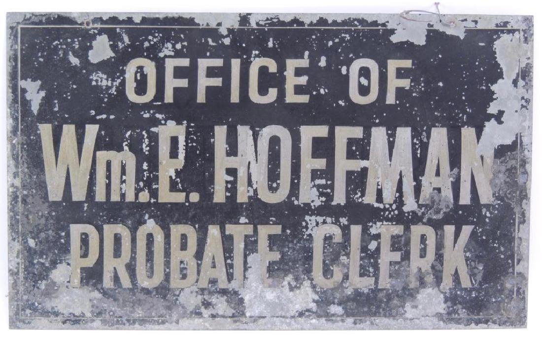 Vintage Office of Probate Clerk Double Sided Metal Sign