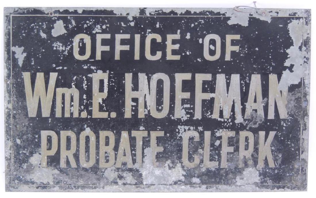 Vintage Office of Probate Clerk Double Sided Metal Sign