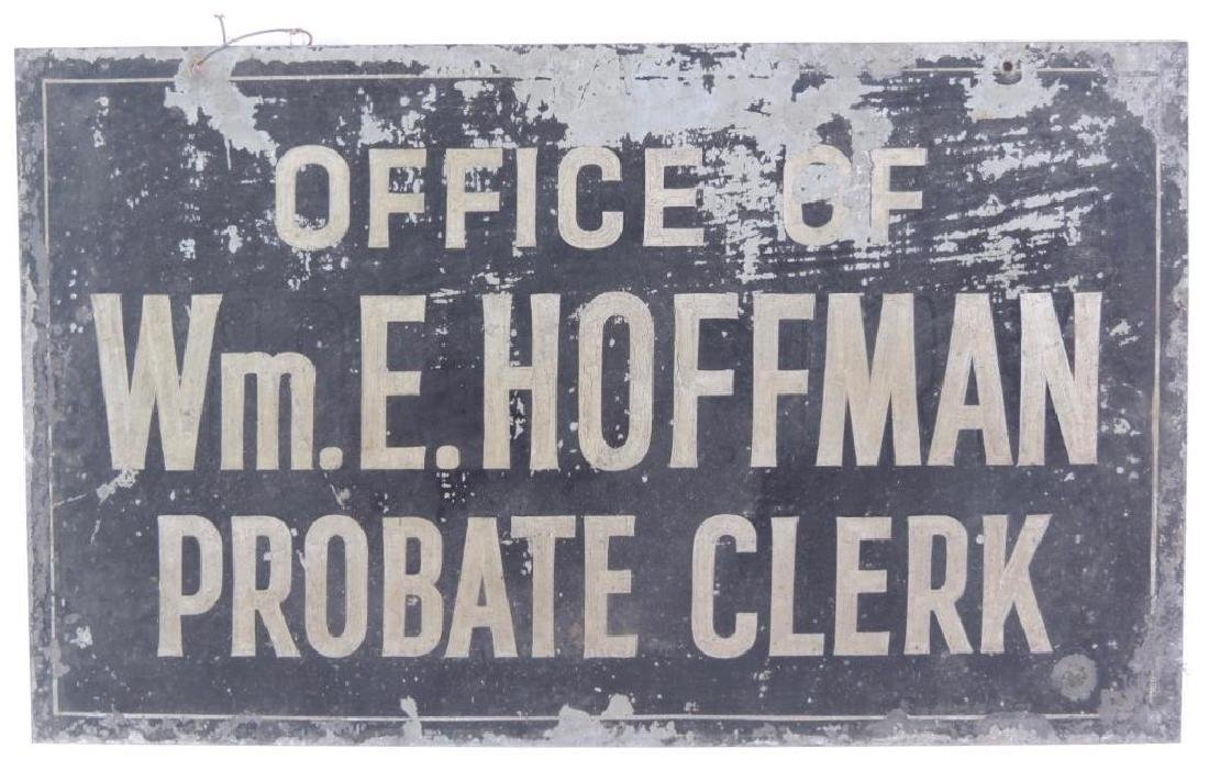 Vintage Office of Probate Clerk Double Sided Metal Sign - 2