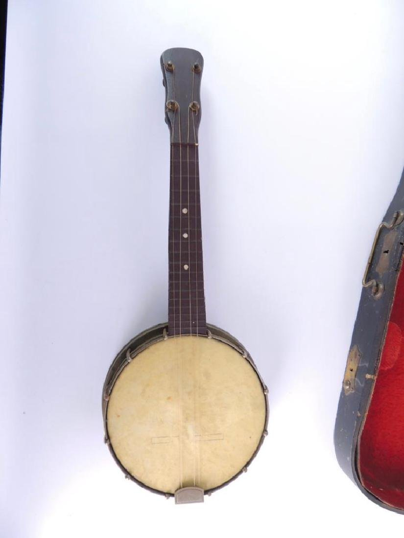 Vintage Miniature Banjo with Violin Case - 2