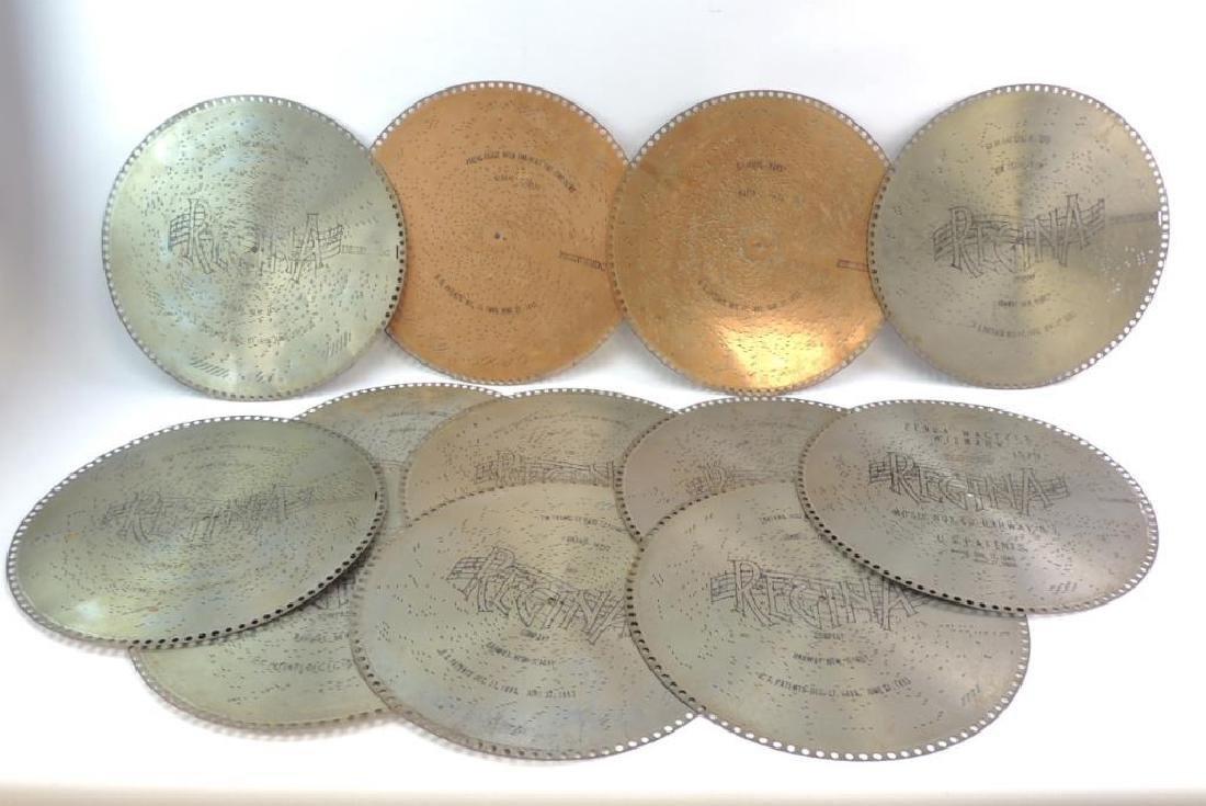 Group of 12 Antique Regina Music Box Discs