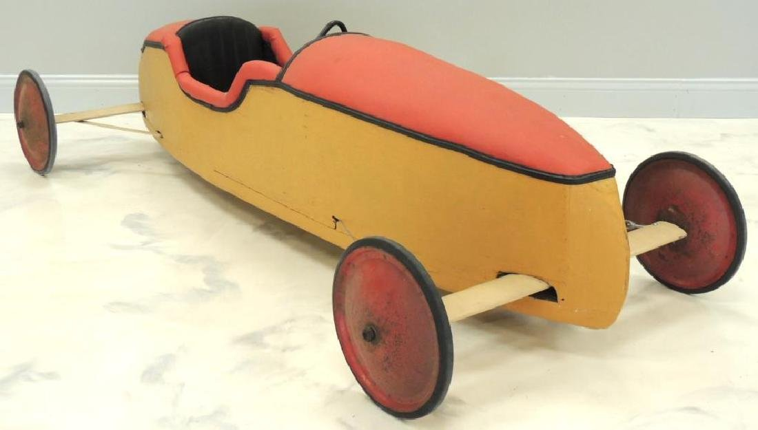 Vintage Soap Box Derby Car with Extra Wheels, Helmet,