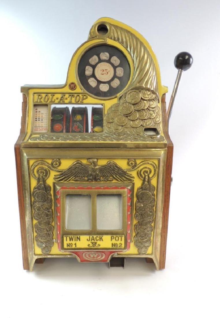 Vintage Rol-A-Top Twin Jack Pot 25 Cent Slot Machine