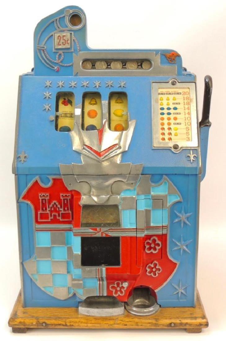 Antique 25 Cent Mills Castle Front Slot Machine