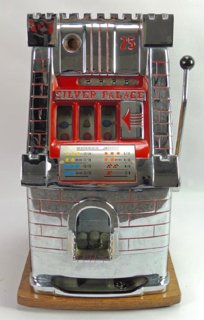 Antique 25 Cent Mills Silver Palace Slot Machine