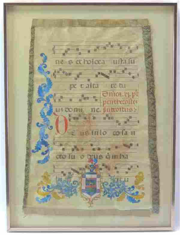 Antique Illuminated Manuscript Antiphonal on Vellum