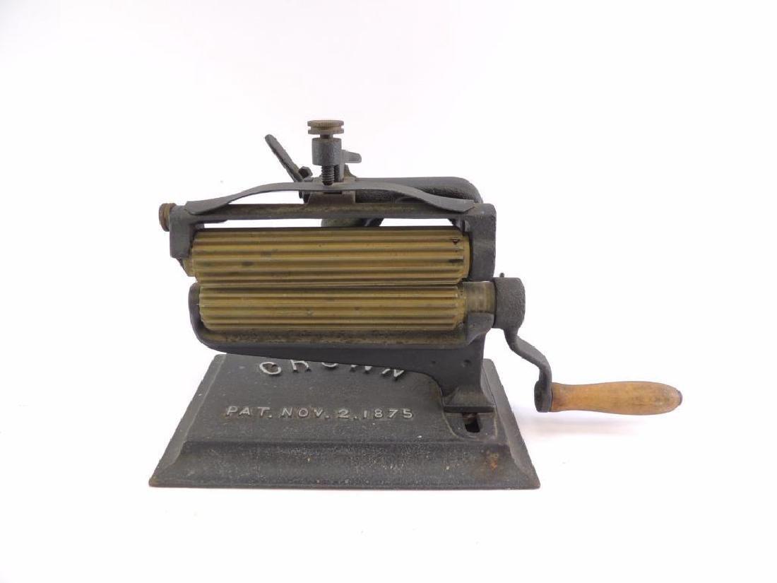 Antique Crown Iron and Brass Fluting Machine