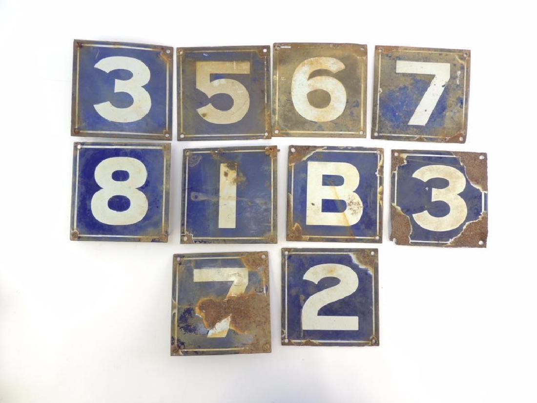 Group of 10 Antique Porcelain Enameled House Number